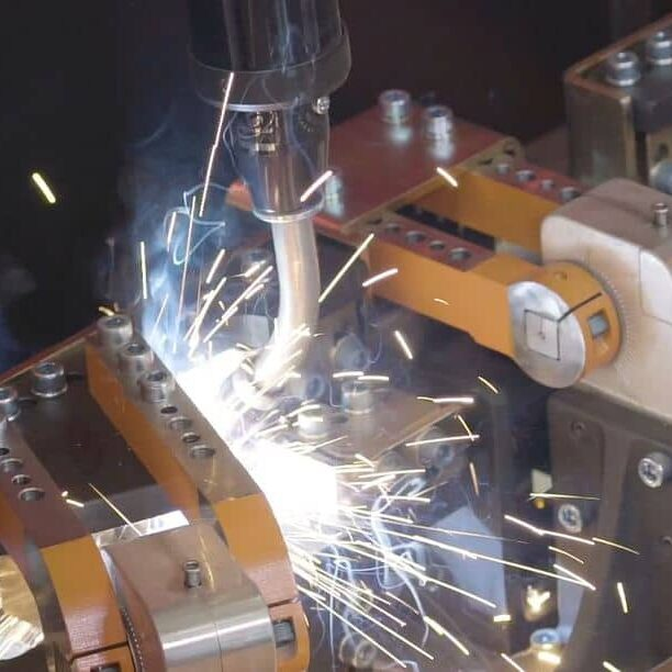 Sparks from robotic arc welding